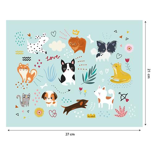 """Coupon tissu motif placé """"DOGS"""" 21x27cm"""