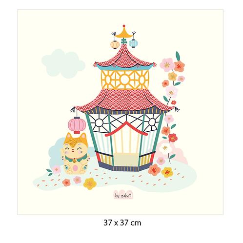 "Coupon tissu motif placé ""TOKYO-PEKIN"" 37x37cm"