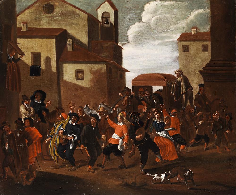 Scène de carnaval en Italie, école des Bamboccianti, v.1700