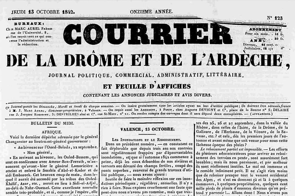 """Une du quotidien """"Le courrier de la Drôme et de l'Ardèche"""" datée 13 octobre 1842 et consacrée au rôle du déboisement dans les inondations ; source : lectura.plus"""