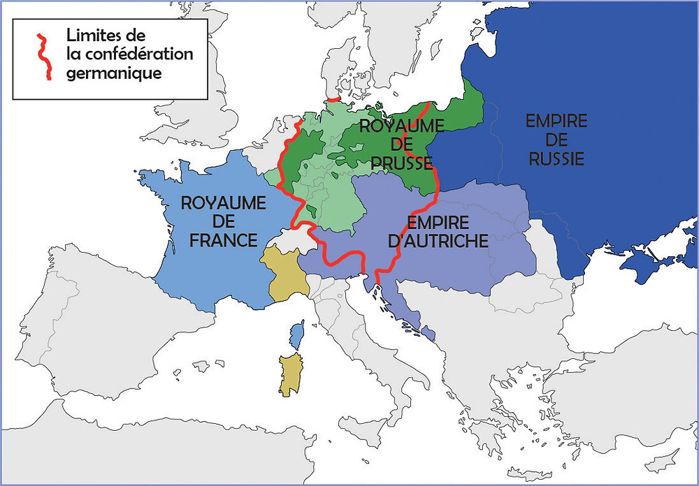 Carte de l'Europe à l'issue du Congrès de Vienne (1815). En 1815, le Congrès de Vienne réorganise l'Europe en restaurant les monarchies dans les Etats au détriment des mouvements nationaux des nations européennes. L'Empire russe, l'Empire d'Autriche et le Royaume de Prusse, rejoints par la majorité des pays européens, défendent l'idée d'une unique nation européenne et fondent la Sainte-Alliance, une union des pays européens afin de se protéger mutuellement.