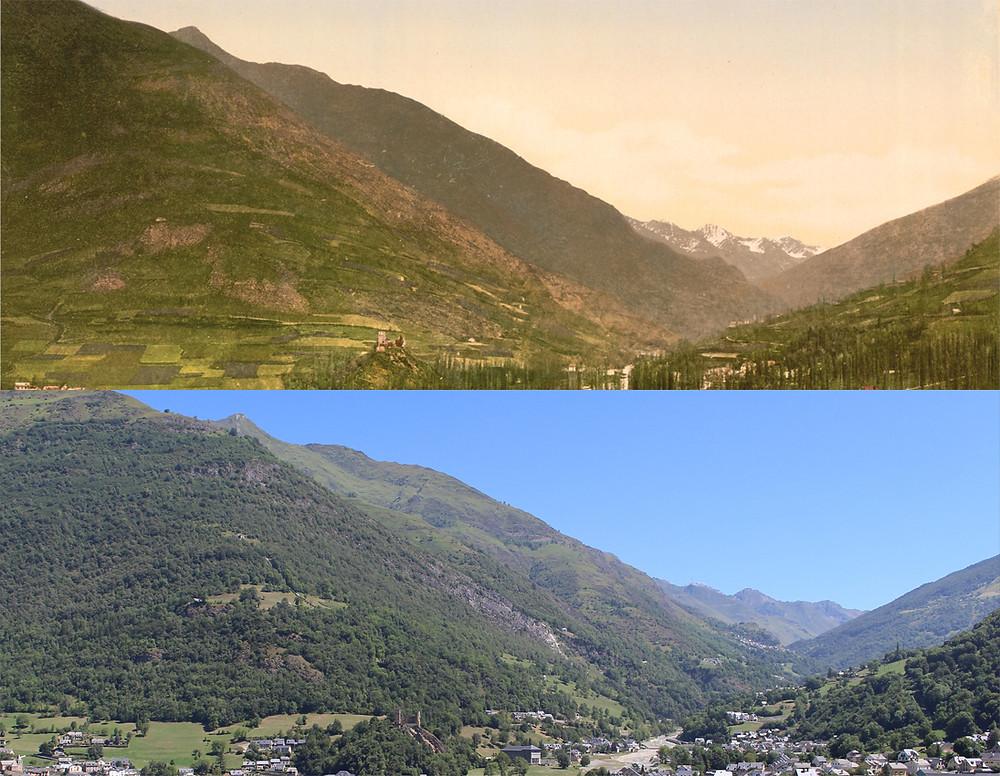 Hauteur de Luz-Saint-Sauveur à la fin du XIXe siècle (en haut) et en 2016 (en bas). En 1897, les villages de la vallée du Bastan furent ravagés par une inondation torrentielle. En cause, le déboisement ; source : Sotos (wikimedia commons) modifiée