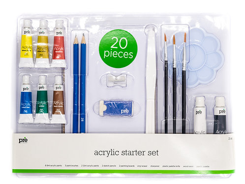 20 piece Starter Art Set (Acrylic, Oil or Watercolor)