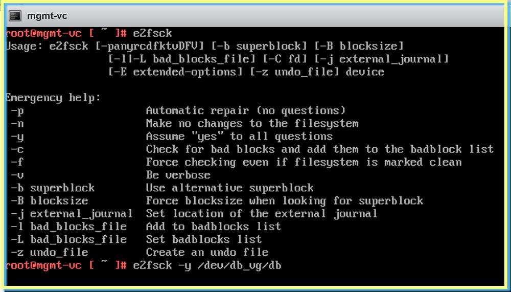 VMware  file system repair e2fsck