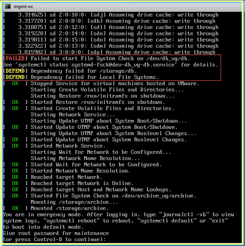 VMware Failed to start file System & Dependency failed for