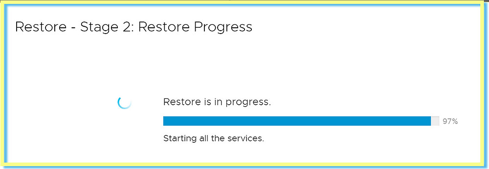 vCenter stage 2 restore in progress