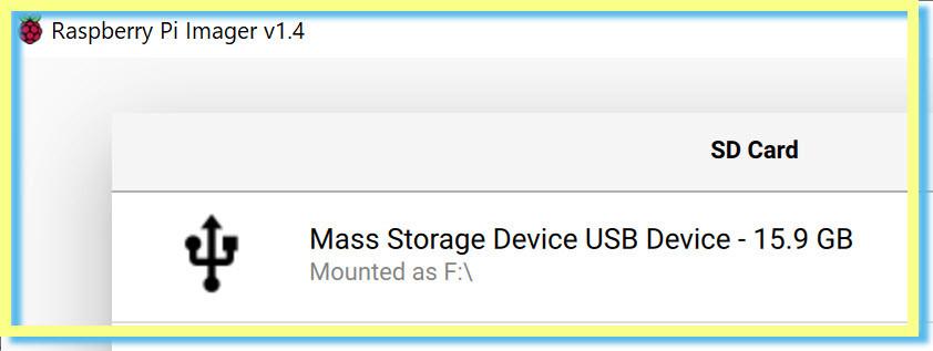 Raspberry Pi Imager USB
