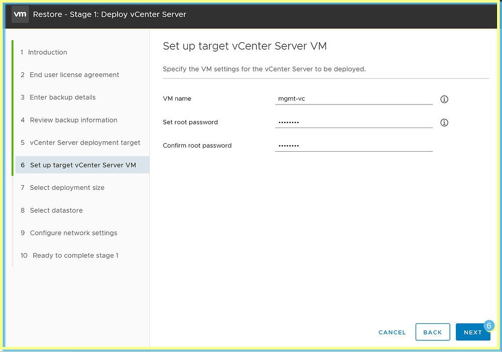 vCenter setup target VM