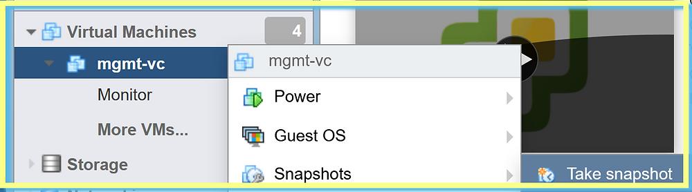 vCenter Emergency Mode snapshot