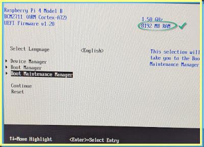ESXi Arm UEFI Configuration Boot options