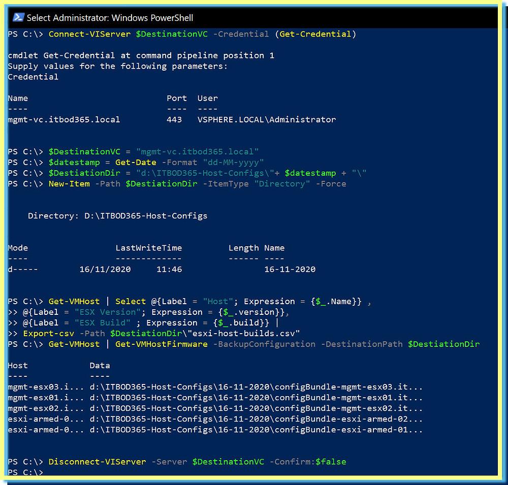 Backup All ESXi Host Configurations Power CLI