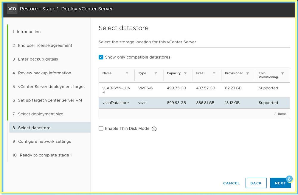 vCenter deployment datastore