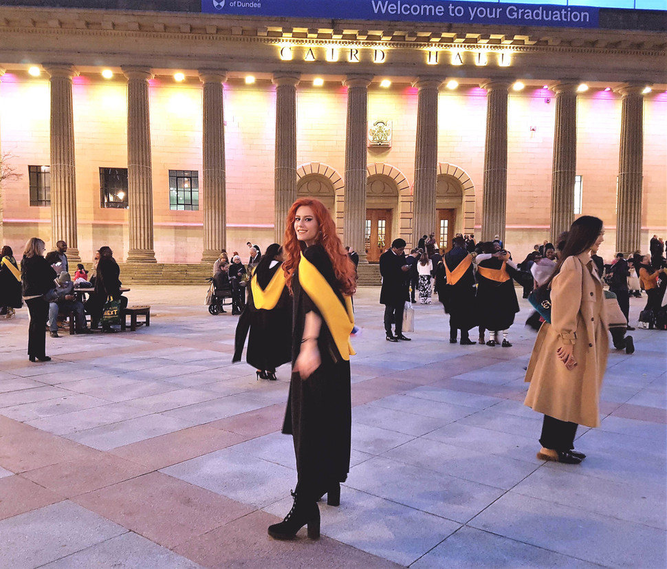 Graduating with a Master of Science in Animation and VFX, University of Dundee, Duncan of Jordanstone College of Art and Design, 2018