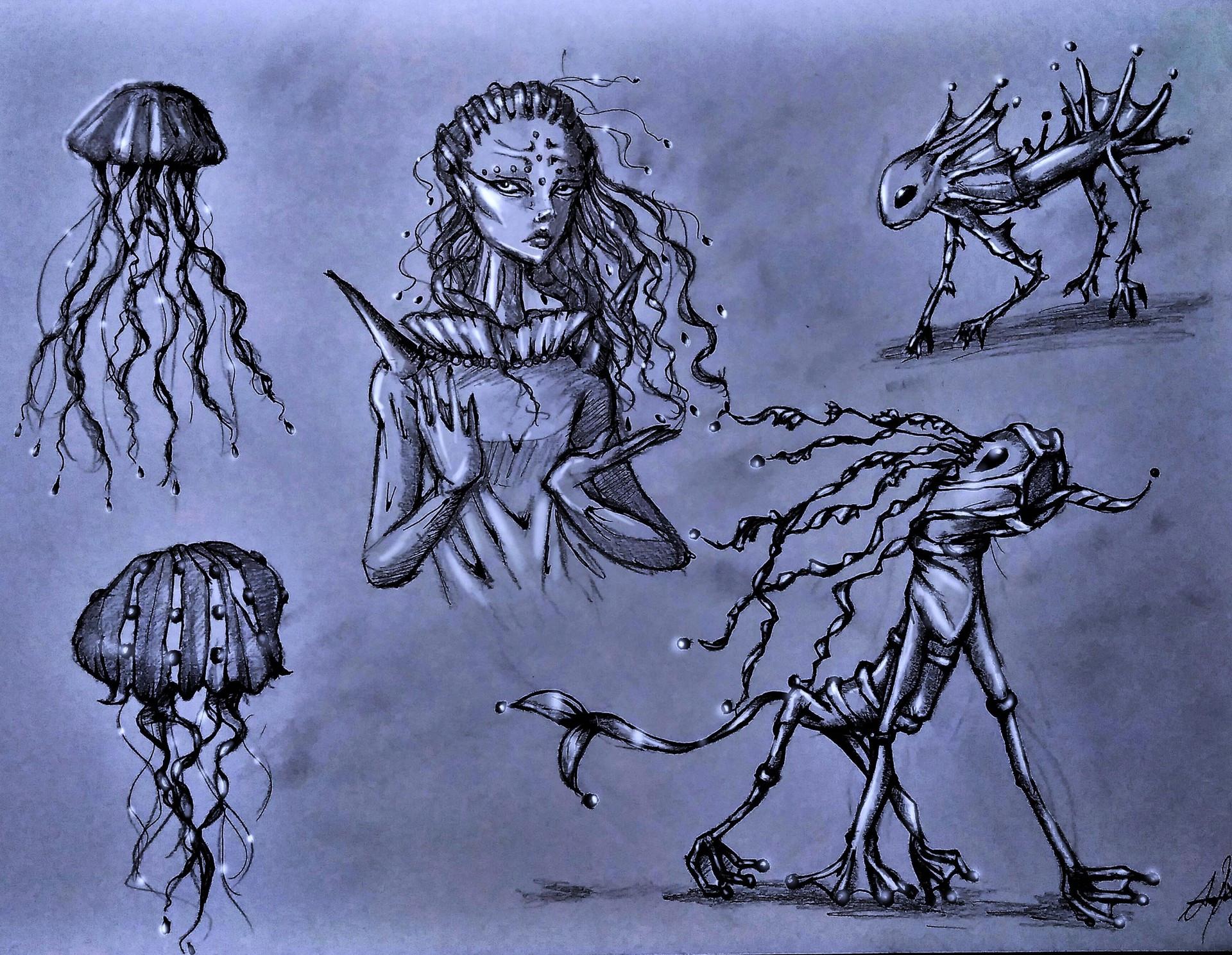 Sea creatures-Character Design/Illustration, 2017