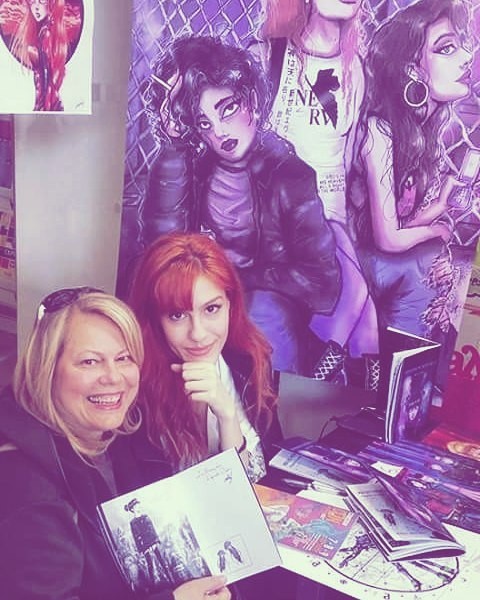 At my stand with Requiem In Deep Blue and prints of my art, at Comicdom Athens convention, 2017