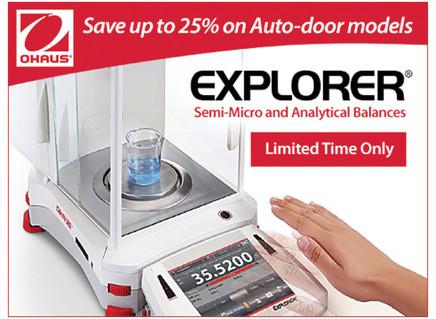 Save up to 25% on all OHAUS Explorer auto-door balances