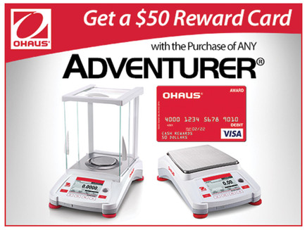 Earn a $50 reward card when you buy an OHAUS Adventurer balance