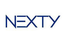 NEXTY pipettes logo with thin, dark blue lettering