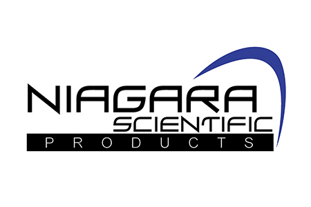 Logo for Niagara Scientific Products with blue swoosh on the right