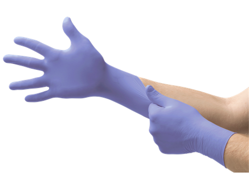 Microflex Supreno SE SU-690 purple latex gloves shown on model