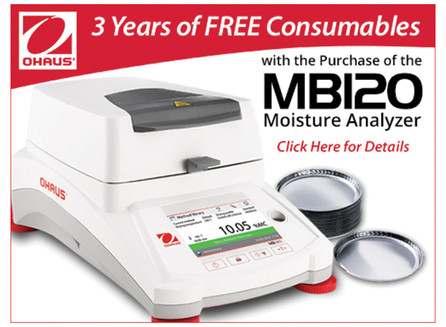 Buy an OHAUS MB120 moisture analyzer, get free sample pans