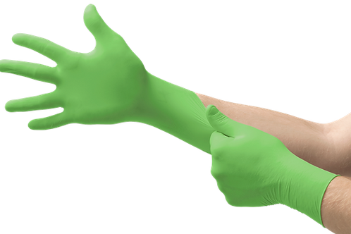 Bright green Microflex NEOSOFT 73-837 Neoprene Gloves, shown stretching on model's hand