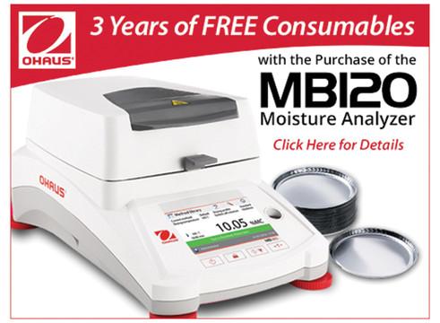 Buy an OHAUS MB120 moisture analyzer, get free sample pans