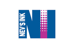 Blue and purple logo for Nev's Ink, manufacturer of laboratory tapes and labels