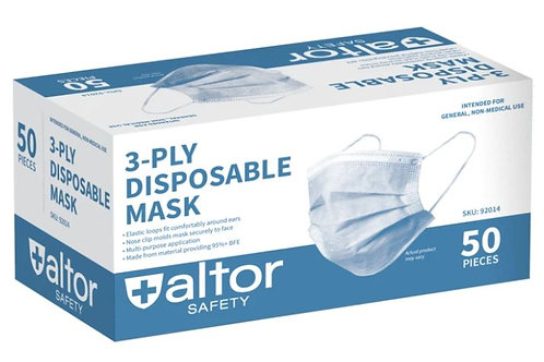 Altor Safety 3-Ply Disposable Face Masks, pack of 50