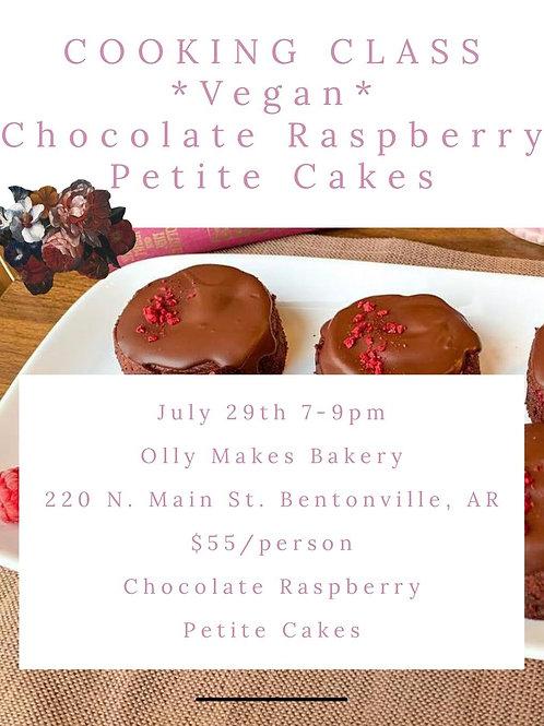 7.29.21 Vegan Chocolate Raspberry Petite Cake Cooking Class