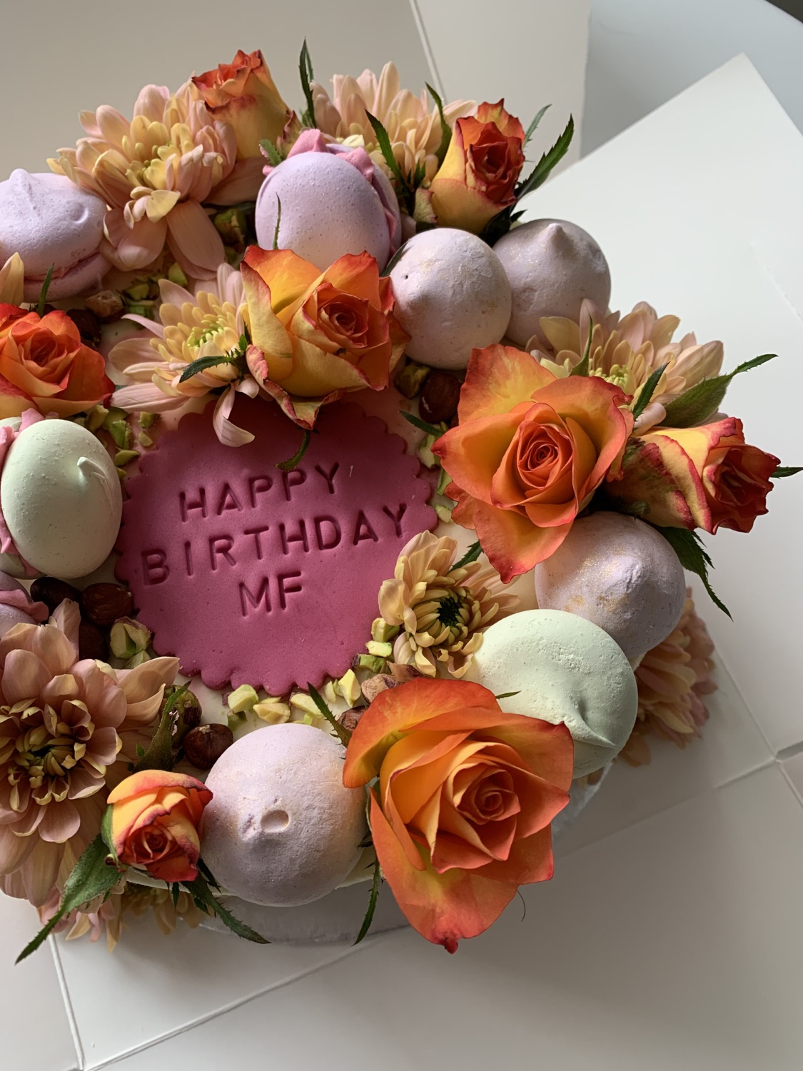 Birthday Cake with flowers, macaroon