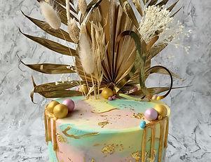 Watercolour Golden Birthday Cake