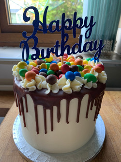 Peanut M&M Drip Cake