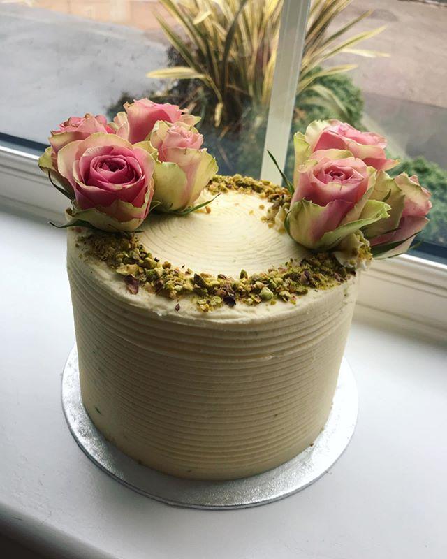 Lime and pistachio celebration cake