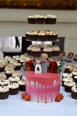 Grey and burgundy wedding cake