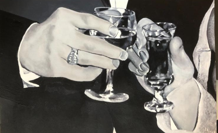 Holding Glasses | Painting By Lucy Walker