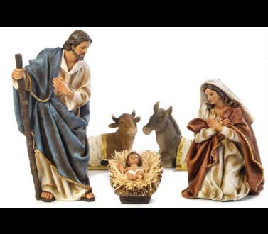 Kerststal set, Maria, Jozef en kind, os en ezel