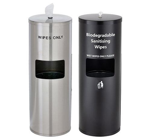 Stainless Steel Free Standing Wet Wipe Dispensers inc Waste Bin