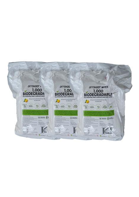 100% VISCOSE Biodegradable Petrol Station Pump Wipes - 1,000 wipes x 3 Rolls