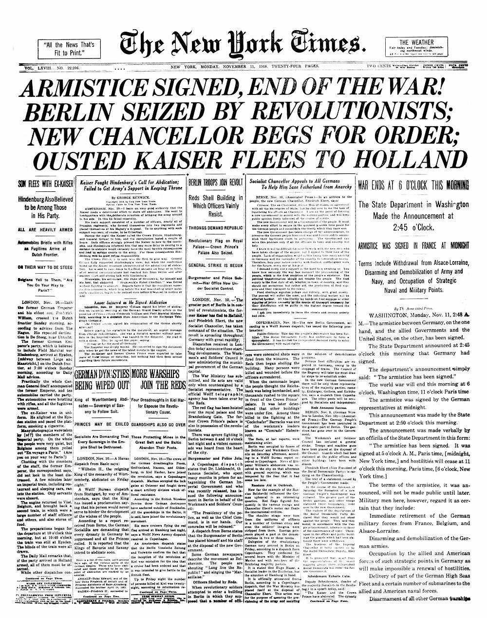 紐約時報1918年11月11日首頁關於康邊停戰協定的報導