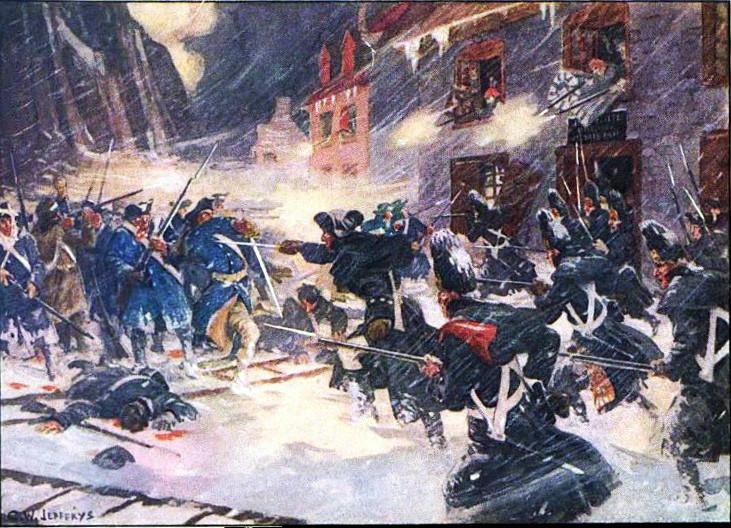 魁北克戰役期間 阿諾德的民兵與加拿大守軍爆發巷戰(1916年繪)