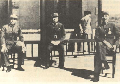 西安事變發生前的合影,左起:張學良、楊虎城及蔣中正
