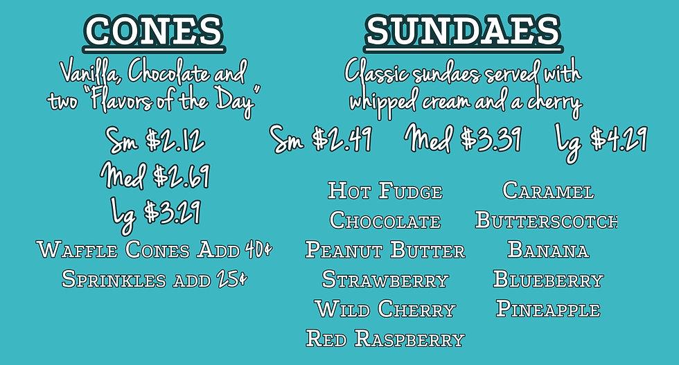 Abe's Old Fashioned Frozen Custard menu, featuring cones, sundaes, milkshakes, delites, and floats