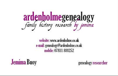 ArdenholmeGenealogy Business card
