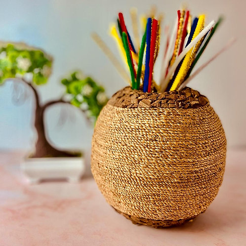 Woven Coconut Shell Vase
