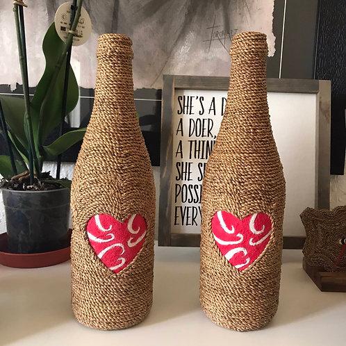 Woven Bottle Decor x 2