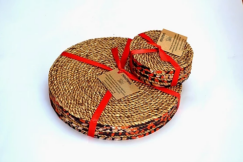 Woven Hyacinth Placemat and Coaster Set