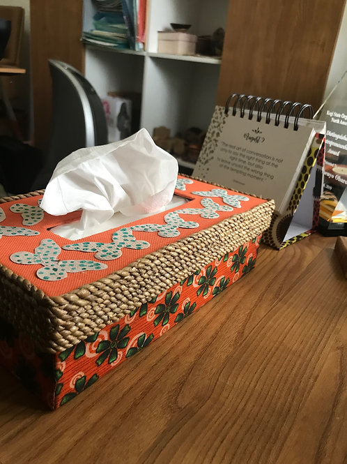 Woven Tissue Box with Butterflies