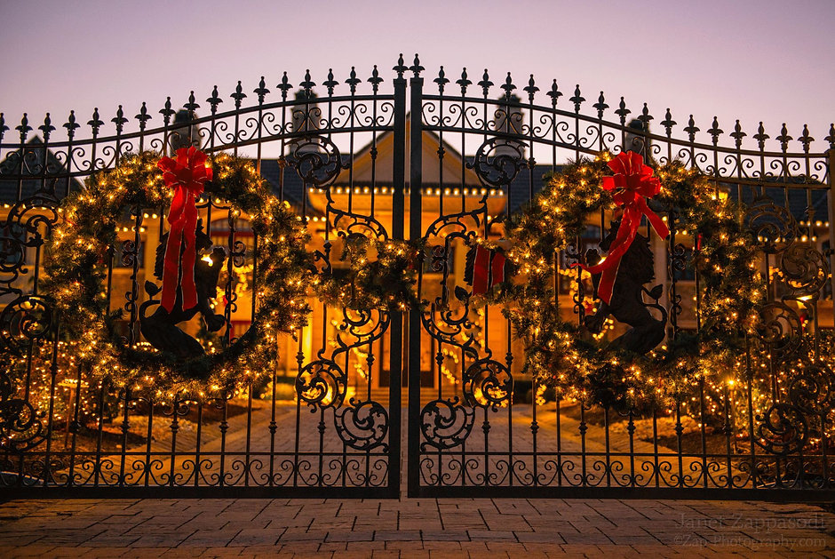Gate with Holiday Lights