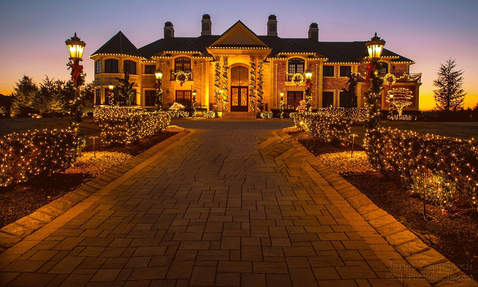 House Lit with Holiday Lights